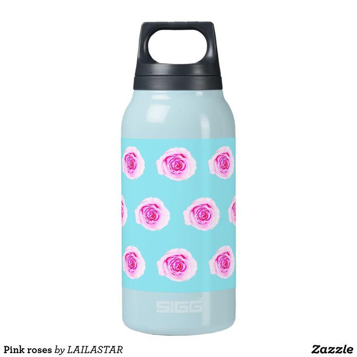Roze rozen flessen