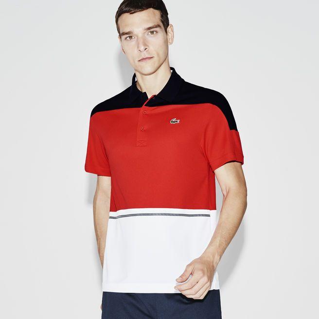 2084833622ac1 Polo tricolor Tennis Lacoste SPORT em piqué técnico