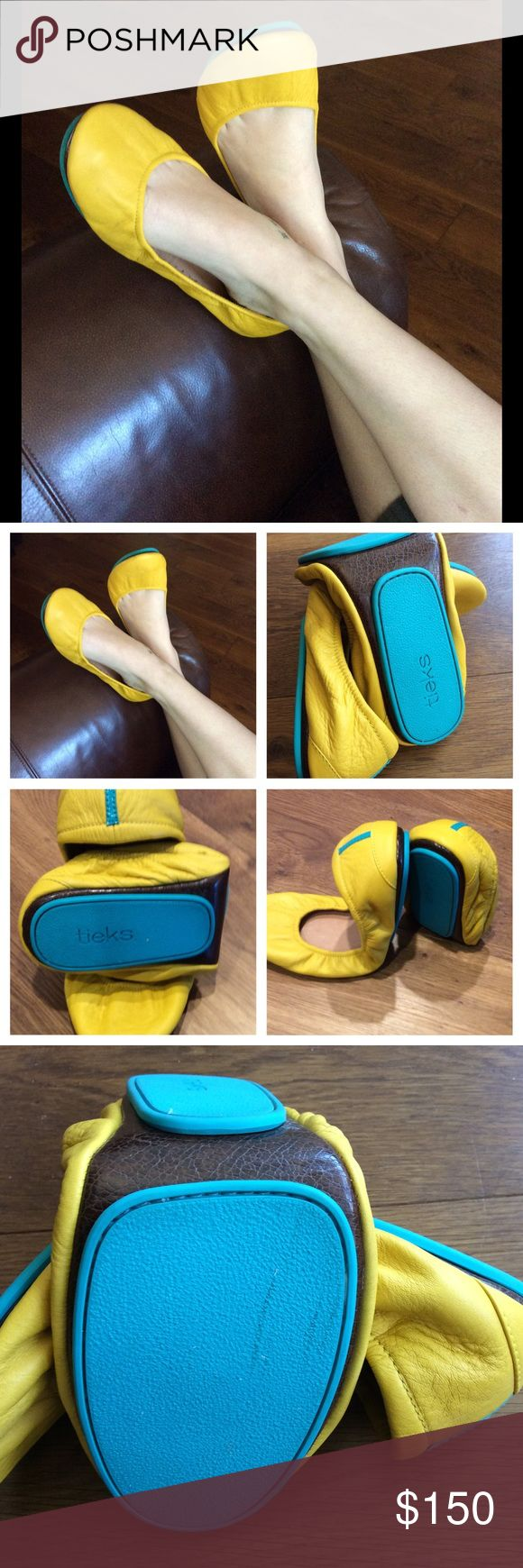 Tieks Mustard Yellow Tieks. Make a modern statement from the boardroom to the boardwalk or out on the town. This is a striking color that will bring a sunny ☀️ disposition to any wardrobe. Worn just a couple of times and a little too big flor me. Tieks Shoes Flats & Loafers