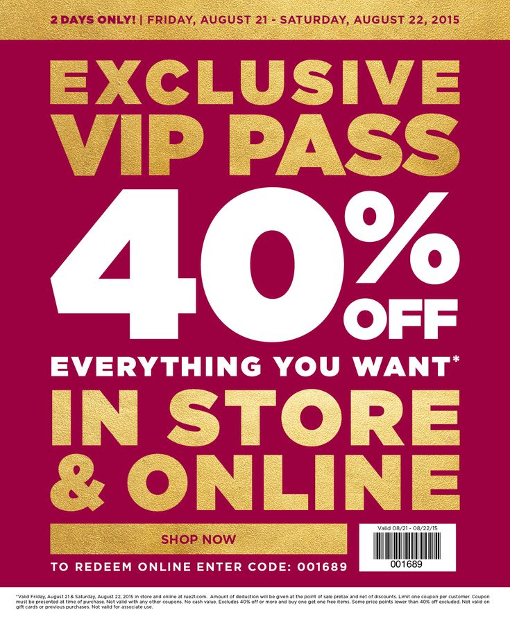 40 Off Everything Today At Rue21 Or Online Via Promo Code 001689 Promo Codes Coupon Apps Rue 21