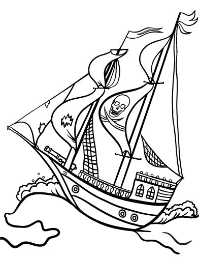 Printable Pirate Ship Coloring Page Free PDF Download At Coloringcafe