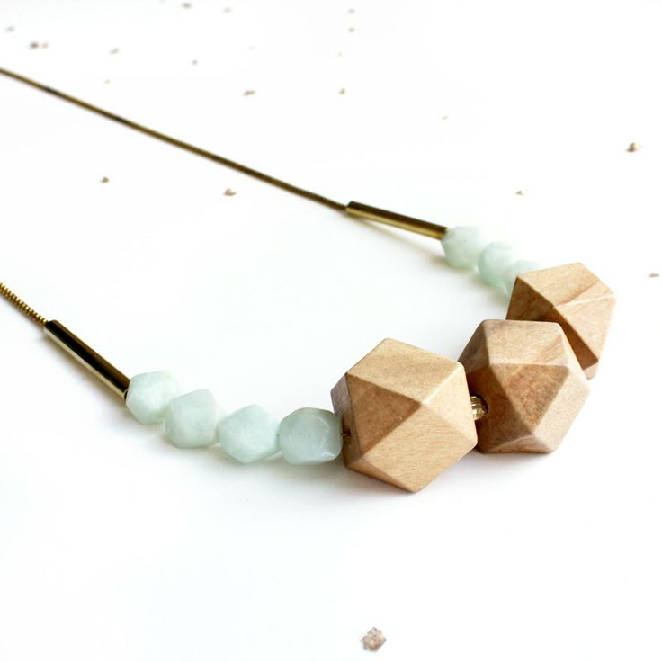 Faceted Wooden Geometric Bauble Necklace / long statement fashion necklace / orange or grayed jade/mint gemstones, wood beads, vintage chain. $36.00, via Etsy.