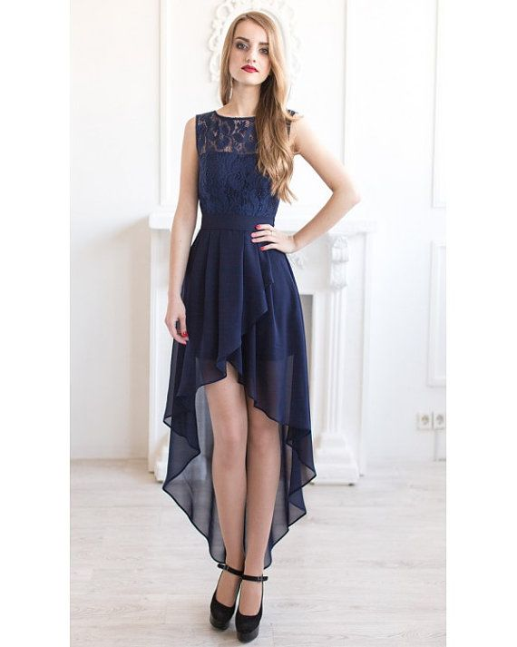 Elegant navy blue lace dress for beautiful bridesmaids with asymmetric skirt.  This dress can be made with a streight skirt maxi lenght like