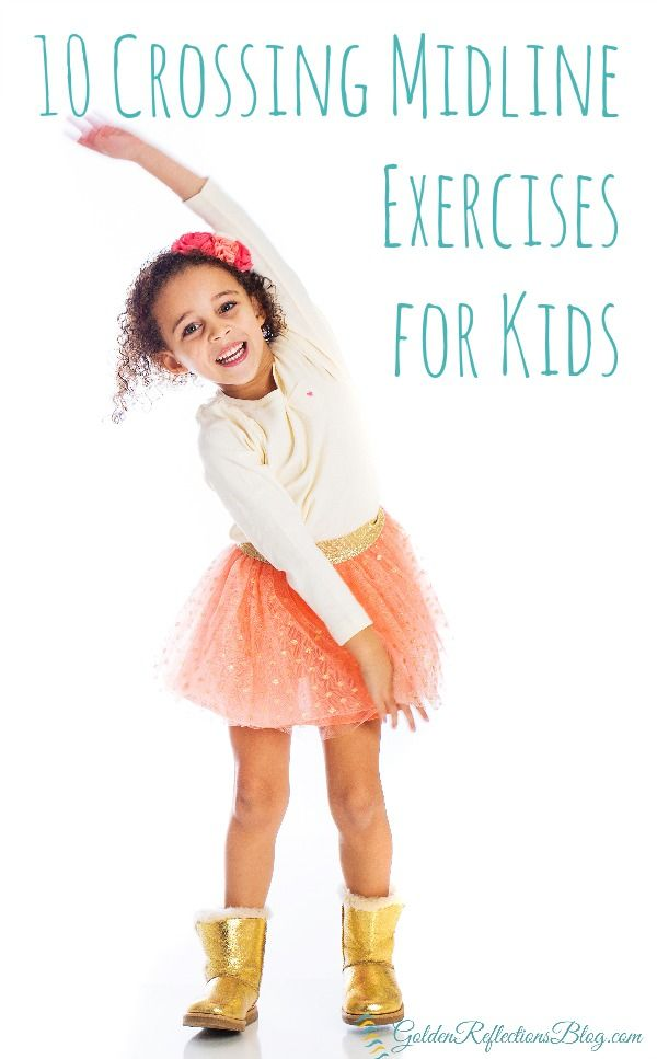 What is crossing midline and why is it important for child development? Check out these 10 crossing midline exercises for kids. www.GoldenReflectionsBlog.com                                                                                                                                                     More