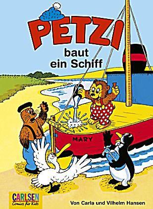 Petzi Band 1: Petzi baut ein Schiff Davon hatte ich als kleines Mädchen ganz viele und hab die Bilder und Geschichten sehr gemocht. So unaufgeregt und wenn's Probleme gab, wurde ein riesiger Turm mit Eierkuchen mit Pflaumenmus o.ä. für alle gemacht. Das waren noch Zeiten :-)