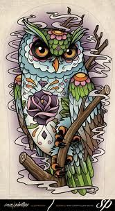 traditional owl tattoo flash - Google Search