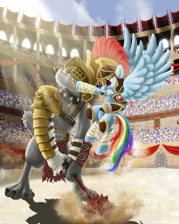 e621 2015 armor canine colosseum diamond_dog_(mlp) dog equine evil-dec0y fangs female fight friendship_is_magic galea gladiator helmet mace male mammal melee_weapon my_little_pony pegasus punch rainbow_dash_(mlp) roman_empire saliva sharp_teeth teeth weapon wings