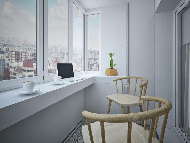 Балкон в  цветах:   Светло-серый, Серый.  Балкон в  стиле:   Минимализм.