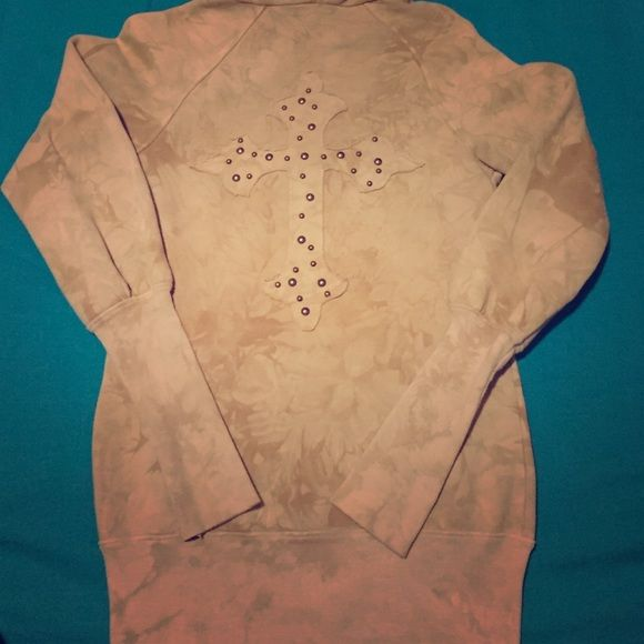 REDUCED Nude Studded Cross Buckle Zip Up Hoodie Worn less than 3 times, super thick, long & slender. Bought from the Buckle!! G*Girl Jackets & Coats