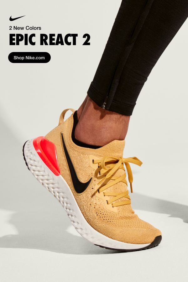 a72b9007117f8 Get ready to bounce in black and go in gold. These two new Epic React 2  colors will keep you running in springy soft comfort for miles.