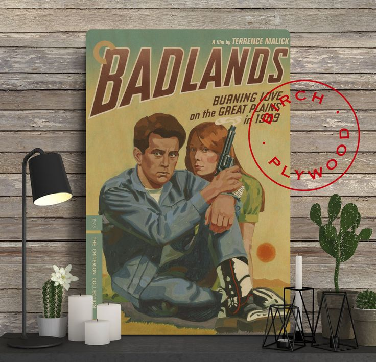 BADLANDS - Poster on Wood, Martin Sheen, Sissy Spacek, Warren Oates, Terrence Malick, Unique Gift, Movie Poster, Wood Gift, Print on Wood by InHousePrinting on Etsy