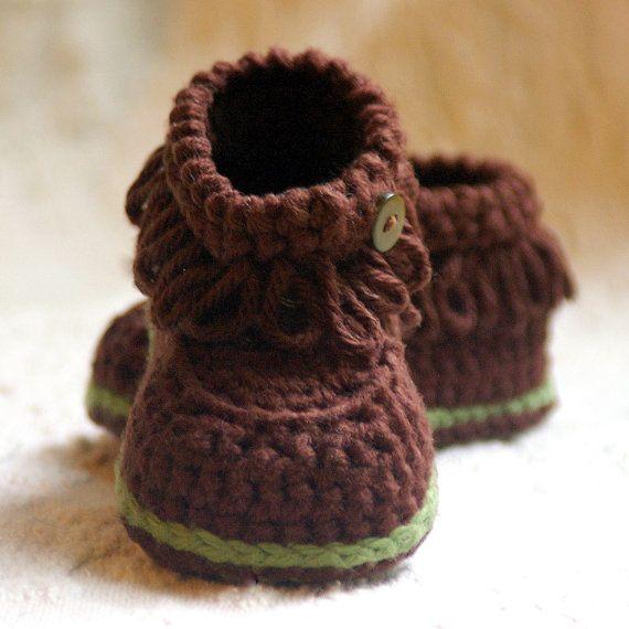 Crochet Patterns Fringe Baby Boot Booties por TwoGirlsPatterns