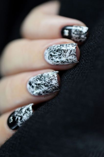 Black and white saran wrap nail art