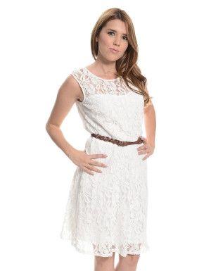 Sleeveless Lace Overlay Skater Dress