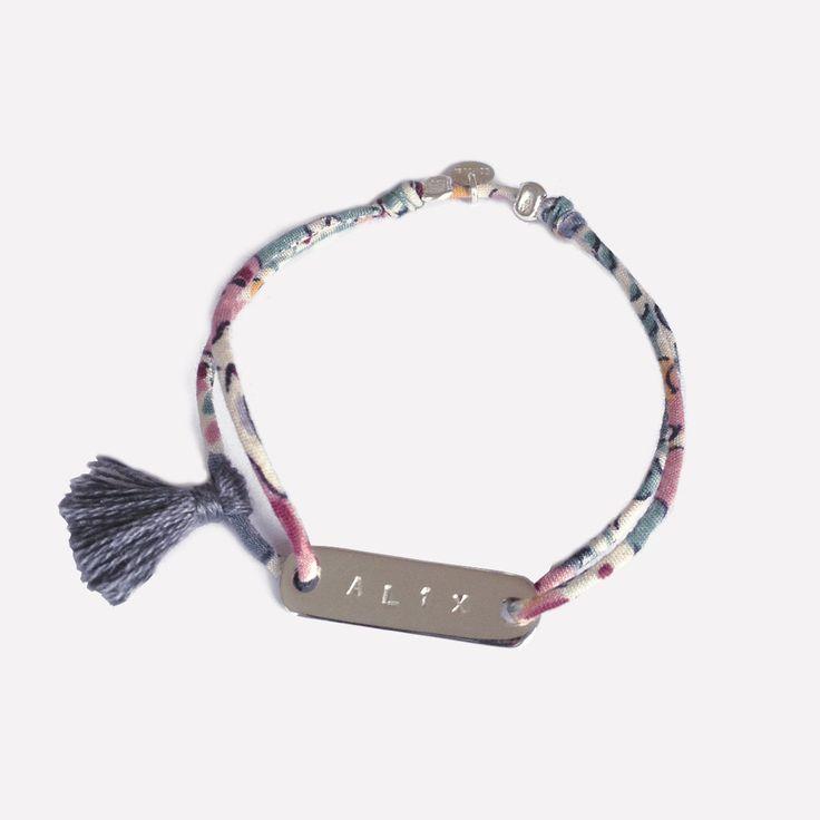 Bracelet gravé, argent, pompon et liberty. Création ticha. www.ticha.bigcartel.com