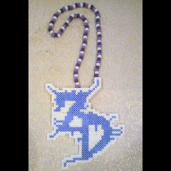 Zeds Dead DJ Perler Kandi Necklace  Purple White