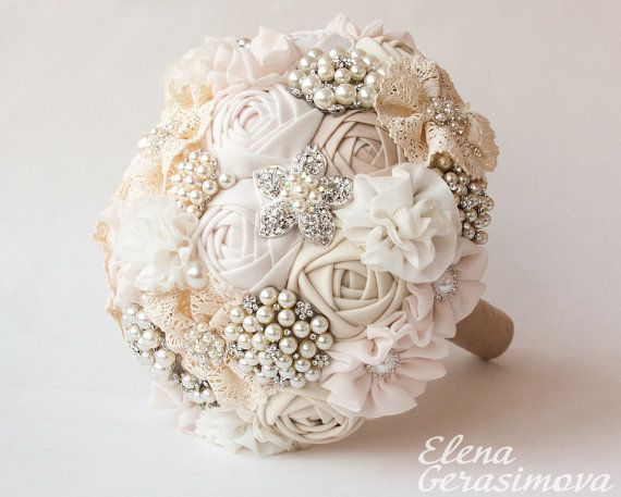 Bridal Bouquets With Vintage Brooches : Brooch bouquet ivory fabric vintage