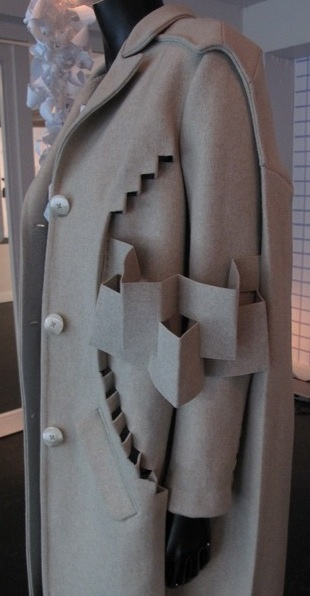 Experimental Fashion Design - paper-engineering inspired coat with folded fabric cut outs; 3D fashion // Alexandra Vershueren
