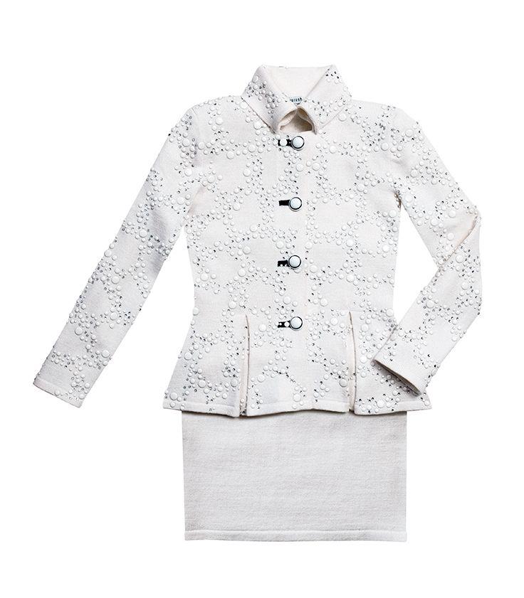 Kourosh white knit suit studded in enamel and rhinestones, $1,250.00. Daniel's Boutique 703.412.1121
