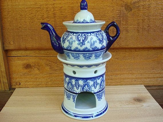 Bombay vintage blue and white teapot with candle warmer ...