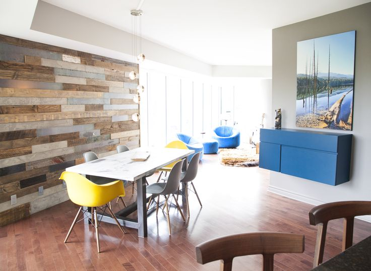 Custom feature wall and Eames classic dining chairs working together.