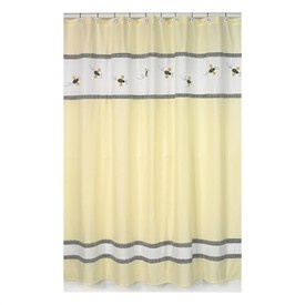 Baby Bathroom  Bumble Bee Yellow and White Shower Curtain - FINAL SALE