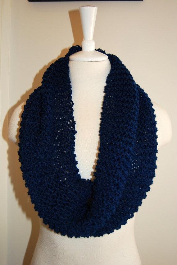 Handmade dark blue inifinity scarf by haylmaree on Etsy, $25.00