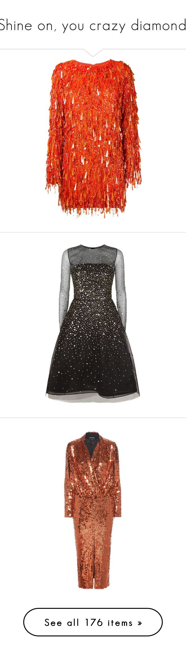 """""""Shine on, you crazy diamond."""" by pinkdaisyprincess on Polyvore featuring dresses, ashish, orange, red dress, red sequin dress, short cocktail dresses, red sequin cocktail dress, long sleeve sequin dress, sparkly cocktail dresses i sparkly dresses"""