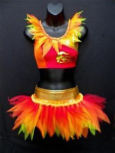 Phoenix Fire Bird Dance 2 Piece Tutu Costume Freestyle Slow Solo Disco Outfit | eBay