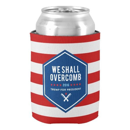 We Shall Overcme Trump for President Can Cooler Custom Red & White Stripes Beverage Can Cooler Party Supplies Drink Insulator