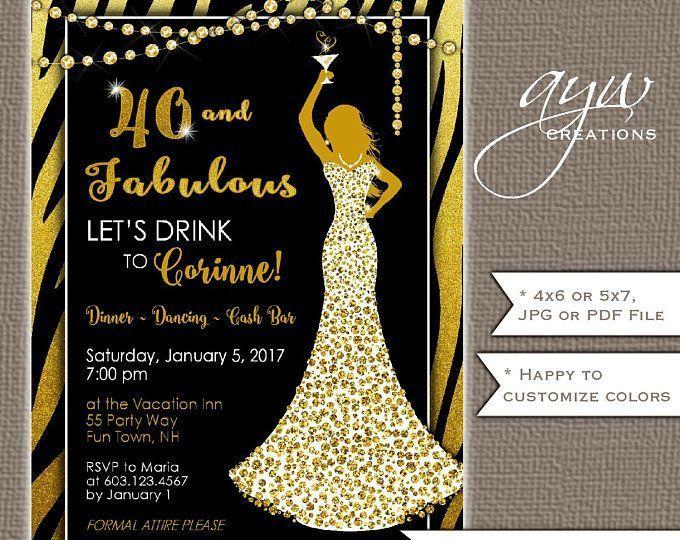 40th Birthday Party Invitations Printable Invitation Woman Dress