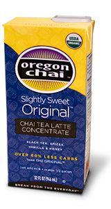Oregon chai tea concentrate- AMAZING, especially with almond milk