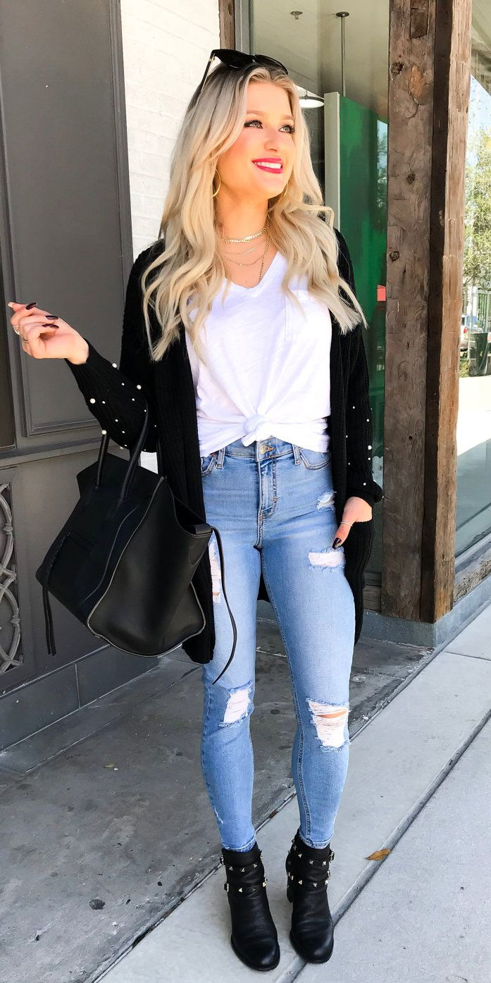 #winter #outfits black open cardigan with white shirt and blue denim jeans outfit. Click To Shop This Look.