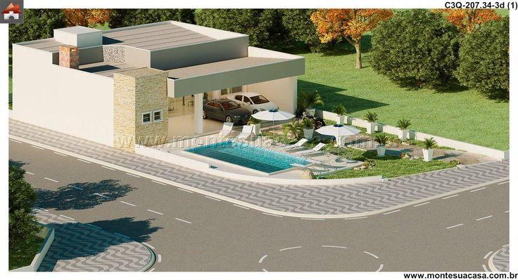 Planta de Casa - 3 Quartos - 207.34m² - Monte Sua Casa