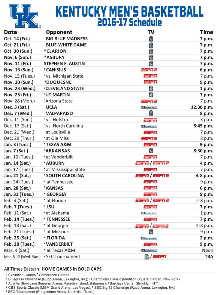 Kentucky men's basketball schedule 2016/2017