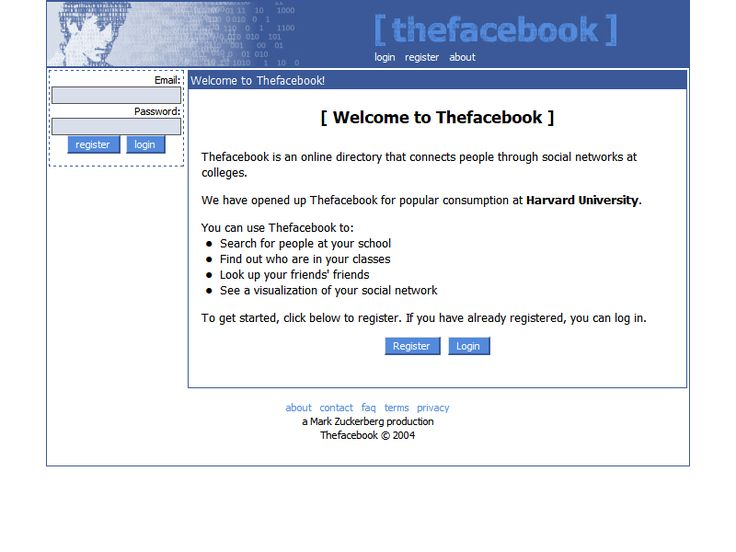Facebook website 2004