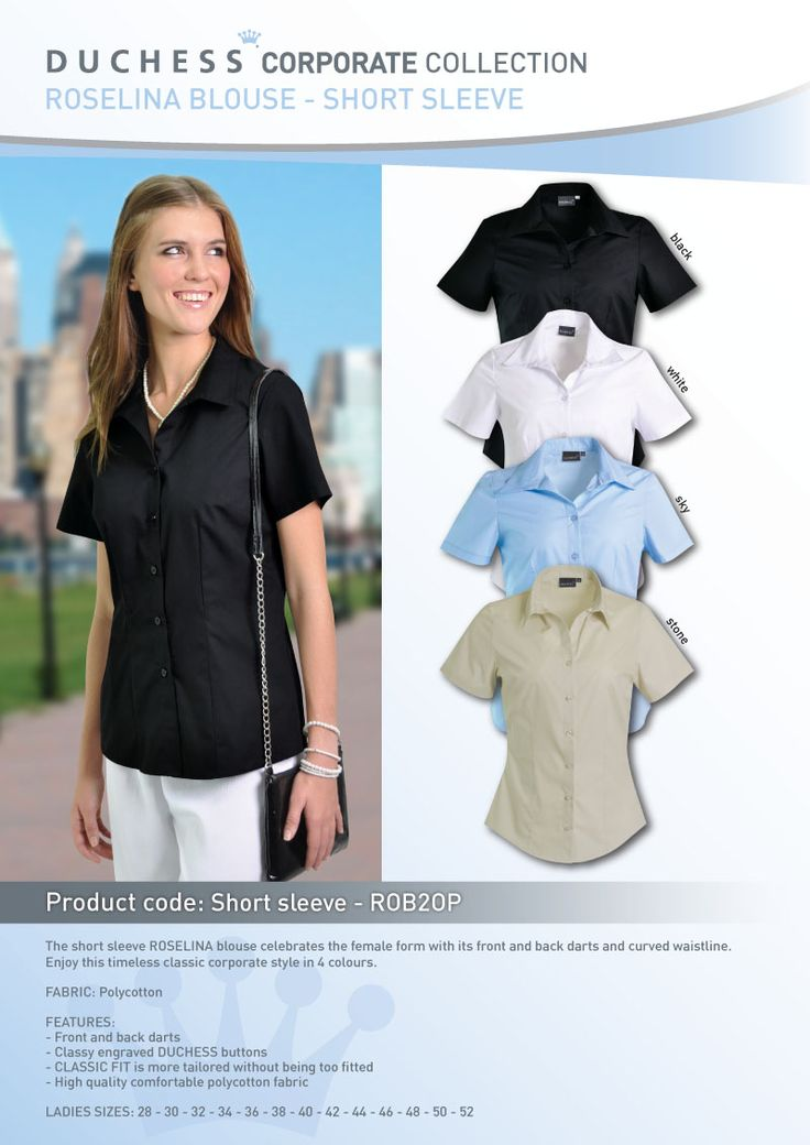 The short sleeve ROSELINA blouse celebrates the female form with its front and back darts and curved waistline. Enjoy this timeless classic corporate style in 3 colours.  FABRIC: Polycotton  FEATURES: - Front and back darts - Classy engraved DUCHESS buttons - CLASSIC FIT is more tailored without being too fitted - High quality comfortable polycotton fabric  LADIES SIZES: 28 - 30 - 32 - 34 - 36 -38 - 40 - 42 - 44 - 46 - 48 - 50 - 52