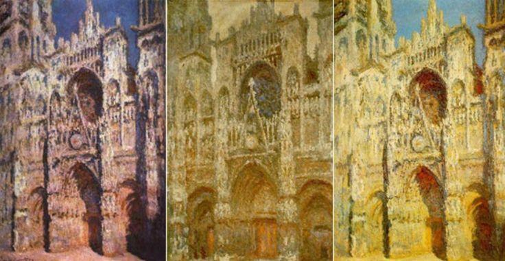 [프리즘의 발견] <루앙 대성당> - 클로드 모네: 모네는 같은 대상이 빛에 따라 다르게 보인다는 점에 주목해서 많은 그림을 그렸는데 이 루앙 대성당이 대표적인 예다. 그는 스케치 작업을 한 곳에서 동일한 빛과 대기상태가 지속되는 동안 작품을 완성시키고자 했기 때문에 비교적 거친 붓터치로 그림을 그렸다.