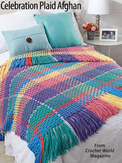 Celebration Plaid Afghan from the February 2018 issue of Crochet World Magazine. Order a digital copy here: https://www.anniescatalog.com/detail.html?prod_id=140998