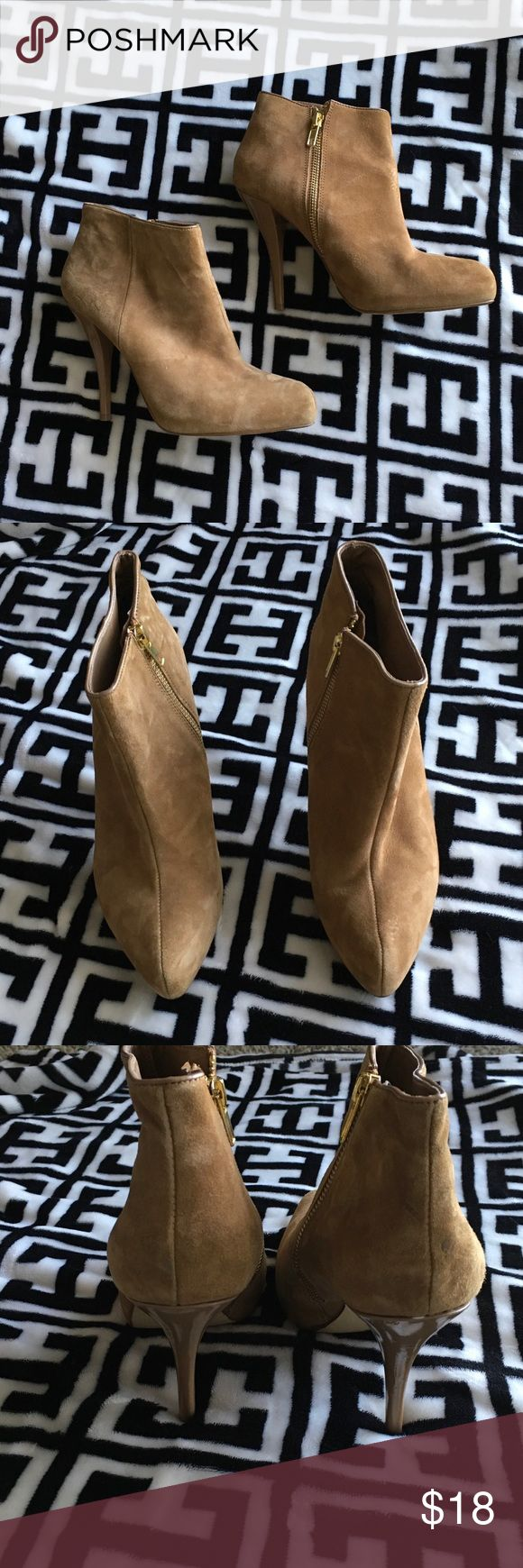 Chinese Laundry tan ankle boots Chinese Laundry ankle boots- 4 1/2 inch heel- in good used condition, marks on heels shown in last pic Chinese Laundry Shoes