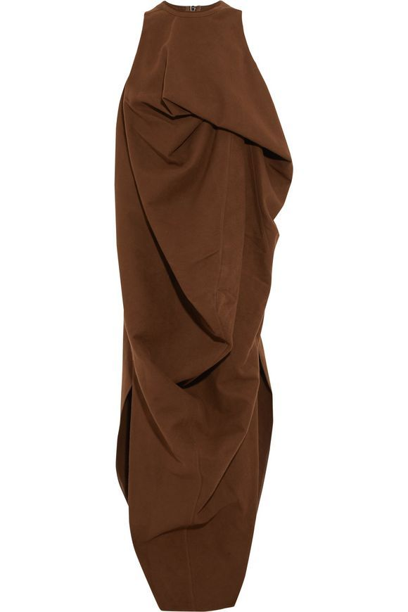 RICK OWENS Draped cotton and silk-blend midi dress  4a2d3b4d507b