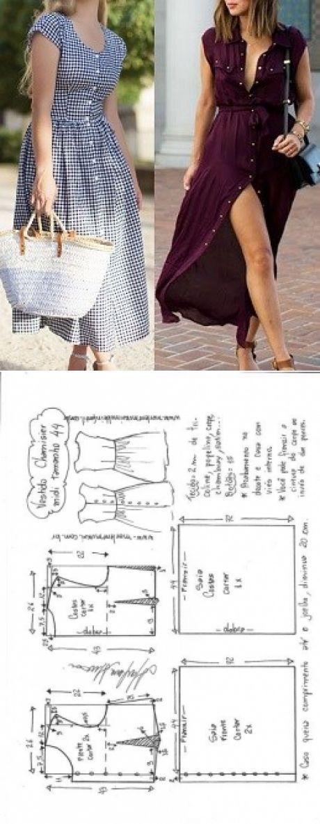 Vestido chamesier midi manga japonesa | DIY - molde, corte e costura - Marlene Mukai
