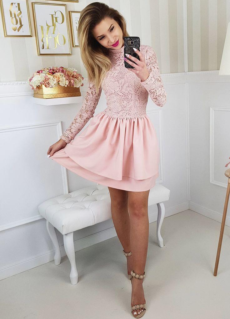 Pudrowa różowa sukienka na wesele