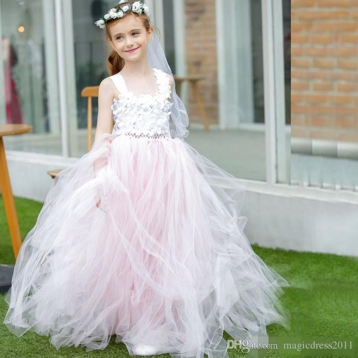 2017 New Vestidos De Comunion Elegant A-Line Flower Girl Dress Pink Tulle Spaghetti Stain For Weddings First Communion Dress Flowers Girl Pageant Cheap Online with $87.0/Piece on Magicdress2011's Store | DHgate.com