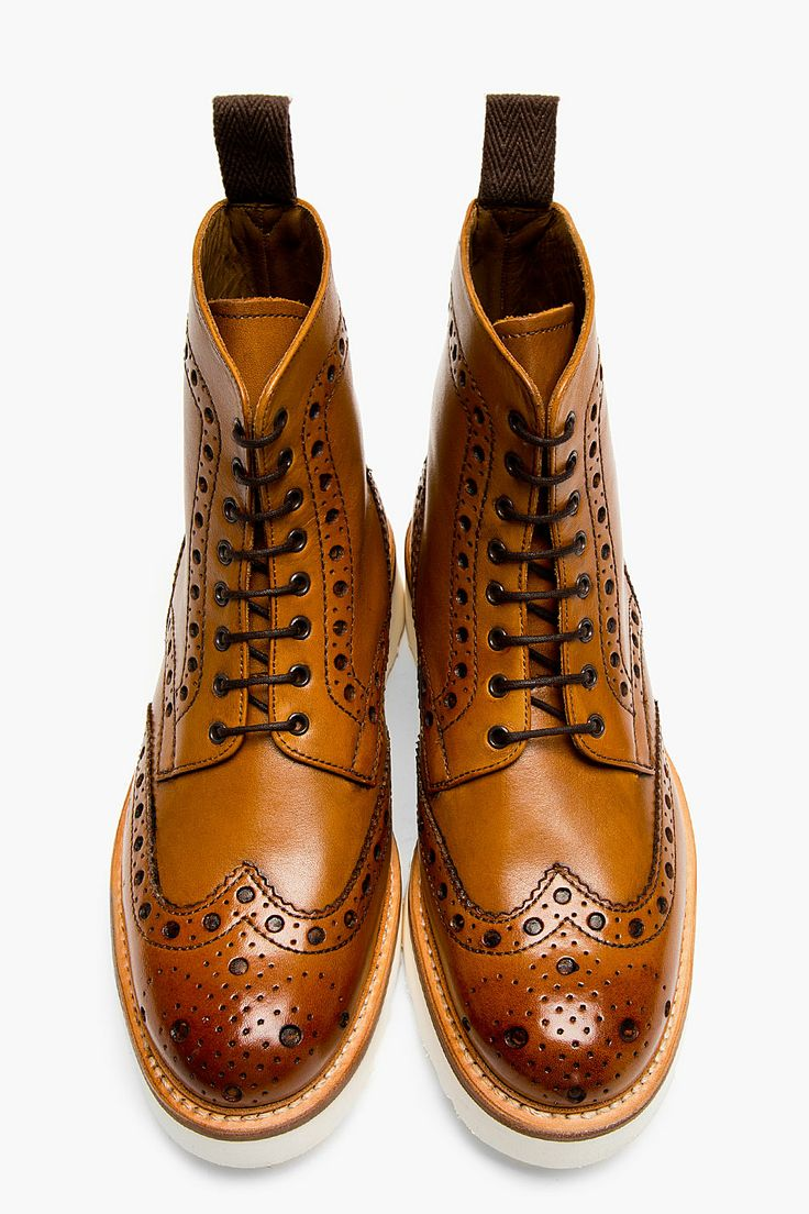 Out of Stock - 2/13/16  GRENSON Tan Leather Double Sole Fred Brogue Boots