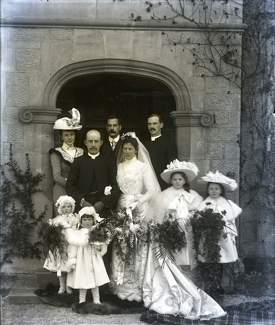 +~+~ Antique Photograph ~+~+  Wedding party - I'm smiling at the girls huge hats!