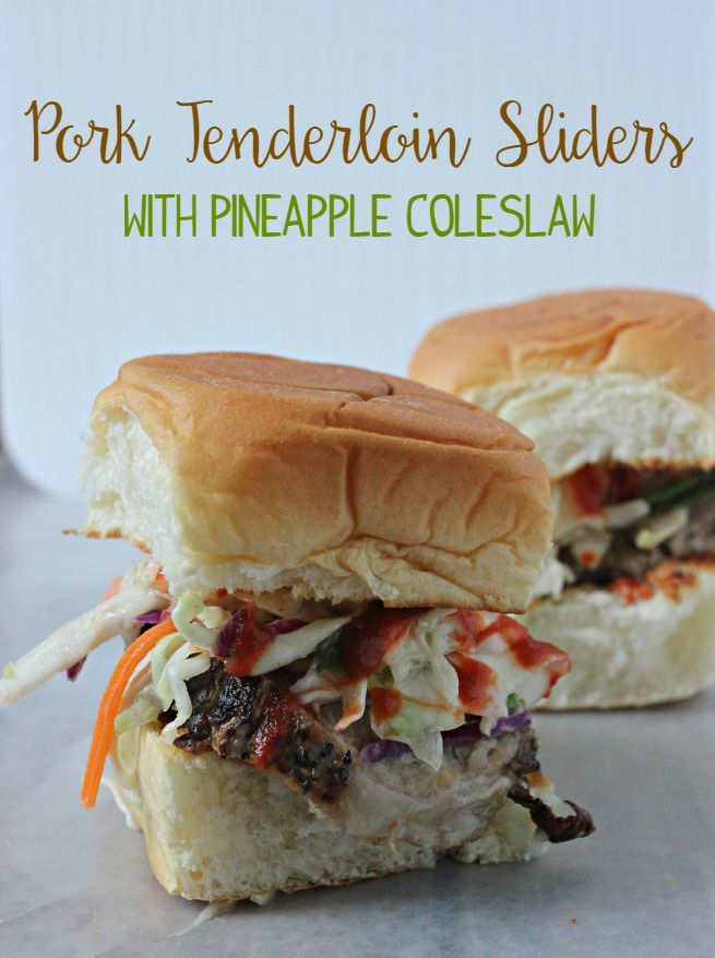 Marinated Pork Tenderloin Sliders with Pineapple Coleslaw.  Tangy.  Spicy.  Juicy.  Fast.  Easy recipe.