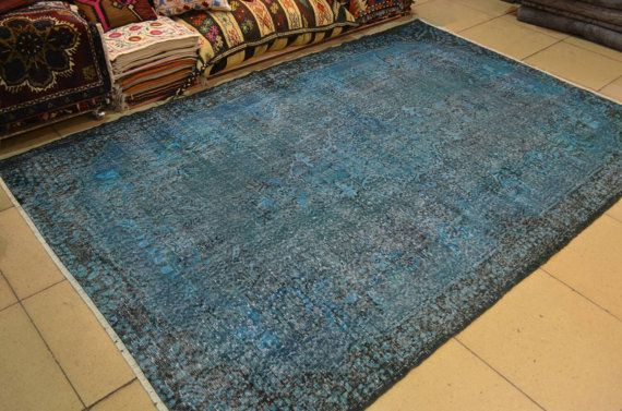 Turquoise rug. Overdyed vintage rug. Turkish by turkishrugman