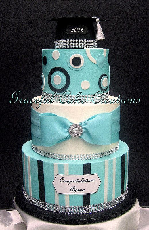 This was my graduation cake :) Tiffany Blue, Black and White Graduation Cake with Bling