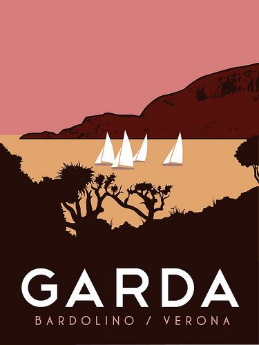 Travel Poster - Lake Garda  - Bardolino/Verona - Italy.